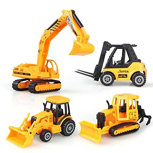 AEVEA 12CM Voiture Miniature Véhicule de Construction Chantier à Friction Lot 4 Pcs Jouet Enfant Garçon Fille 3 Ans 0607983369614