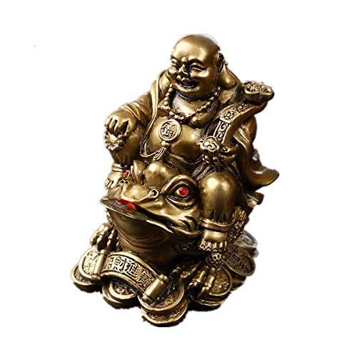 Feng Shui Dekofigur aus Polyresin, lachender Buddha, sitzt auf Geldfrosch (Dreifein), Kunstharz, Bronze