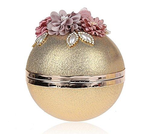 La Signora Diamante Fiore Mini Borsetta Della Forma Sferica Aspetto Della Personalità Gold