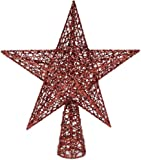 Festive Productions Glittered Wired and Woven Christmas Tree Top Star 300 mm Red