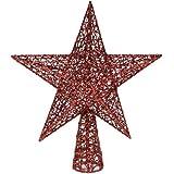 Festive Productions 170333 - Estrella para árbol de navidad (30 cm, alambre entretejido), diseño brillante, color rojo