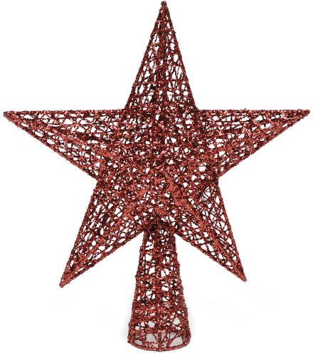 Festive Productions Ltd - Puntale per albero di Natale glitterato a forma di stella, 300 mm, colore: Rosso