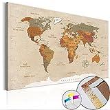Weltkarte Pinnwand 120x80 cm Leinwand | Bilder Leinwandbilder - Fertig aufgespannt auf dicker 10mm Holzfasertafel! Aufhängfertig! Auch als Korktafel nutzbar! XXL Format - PWC0034c1XL