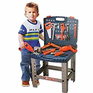Toyshine Kids 69 Piece Toy Tool Kit Play Set Portable Folding Work Bench Workshop with Drill