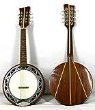 Musikalia Banjo Mandoline, avec caisse en aluminium, fond en acajou avec marqueterie en érable, de lutherie