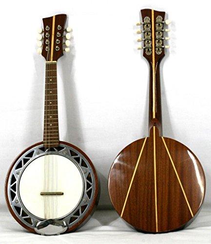 Musikalia Banjo Mandoline Linkshänder, mit Korpus aus Aluminium, Boden aus Mahagoni mit Intarsien aus Ahorn, klassischer