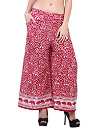 Jolliy Women's Printed Red & White Crepe Palazzo