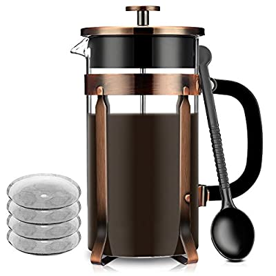 French Press, Famirosa Cafetière Coffee Press with Additional 4 Filter Screens for Home and Office (8 Cups, 1000ml, 34 Oz ) from Famirosa