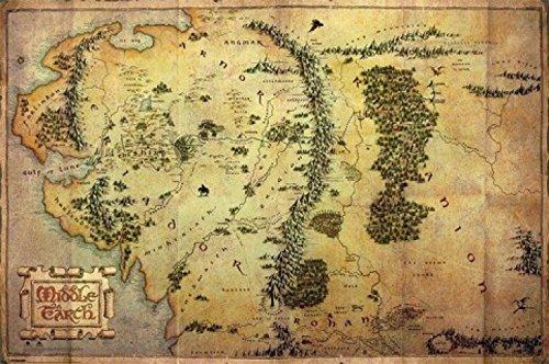 """1art1 62844 - Poster """"Lo Hobbit"""", cartina della Terra di Mezzo, 91 x 61 cm"""