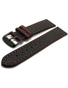Meyhofer Uhrenarmband Tebessa 18mm schwarz rote Naht schwarze Schließe MyHekslb111/18mm/schwarz/roN