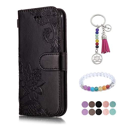 LA-Otter kompatibel für LG V30 Hülle Leder Schwarz Spitze Blume Handyhüllen Lederhülle Schutzhülle Flip Case Klapphülle