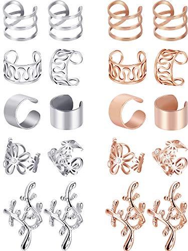 10 Paare Ohr Manschette Set Edelstahl Ohr Piercing Ohrclips Nicht-piercing Ohrringe Knorpel Hoop Schmuck Zubehör für Damen und Mädchen Liefert (Farbe Set 2) (Farbe Set 2)