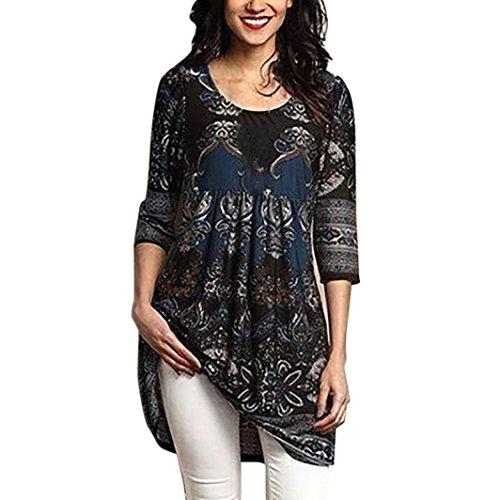 VEMOW Muttertag Geschenk Sommer Elegante Damen Mädchen Frauen Drei Viertel Ärmelloses Rundhalsausschnitt Gedruckt Casual Tägliche Outdoors Tops Lose T-Shirt Bluse(Marine, EU-44/CN-L) (Bowling T-shirt-designs)
