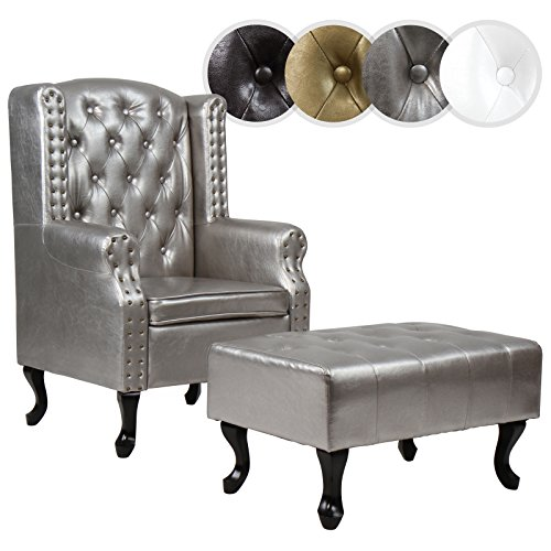 Miadomodo Ohrensessel Relaxsessel Clubsessel Ottomane Nach Chesterfield Inklusive Hocker in 4...