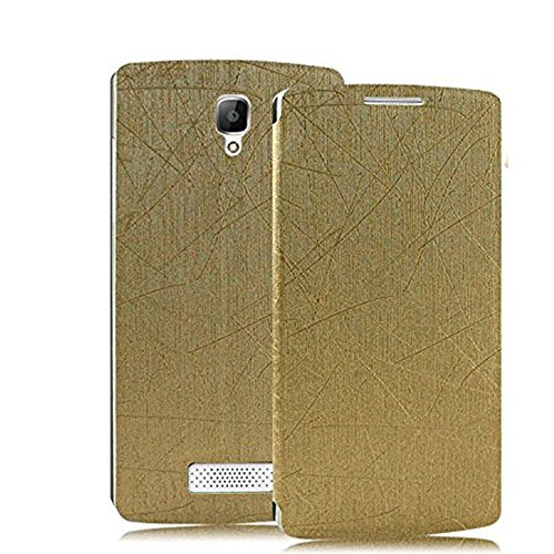 Heartly Premium Luxury PU Leather Flip Stand Back Case Cover For OPPO Neo 3 R831K R831S – Gold
