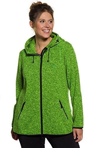 Ulla Popken Femme Grandes tailles Veste en polaire et maille 706955 vert prairie