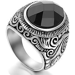 Flongo Clásico Anillo hombre mujer acero inoxidable, Anillos Vintage de Piedra, Diseño atractivo, Gótico anillo antiguo, Unisex color negro plata