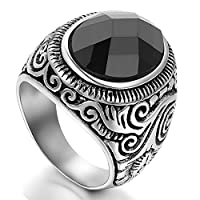 Flongo Men's Vintage Stainless Steel Statement Ring Celtic Knot Black Glass Class Band, Size N