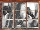 Hummingbird dans son effet de charbon de bois d'habitat naturel Fenêtre en 3D look, mur ou format vignette de la porte: 92x62cm, stickers muraux, sticker mural, décoration murale