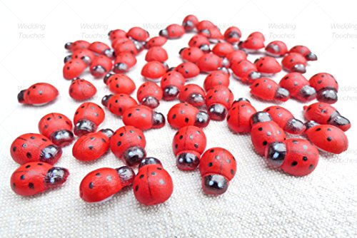 Mini 9x12mm Self Adhesive Wooden Ladybird Ladybugs Craft Card Wood Toppers (100)