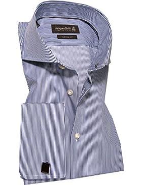Jacques Britt Herren Hemd Baumwolle & Mix Oberhemd Gestreift, Größe: 45, Farbe: Blau