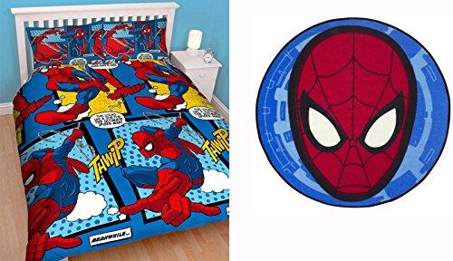 Spiderman webhead set biancheria da letto matrimoniale e ultimate city tappeto