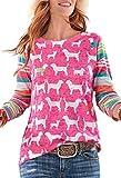 ECOWISH Damen Tier Gedruckt Pullover Gestreifte Sweatshirt Oberteil Langarm Rundhals Top Shirt Rosa XL