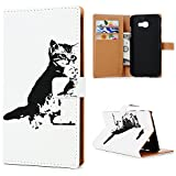 KASOS Galaxy A3 2017 Leather Case,Mixed Black White Apathy Cool Cat Flip Wallet Case Cash and Card Slots Pouch Leather Cover Magnetic Closure Secure Lock and Stand Feature Hard PC Back Shell Cradle