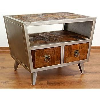 Modern Industrial Design Bedside Table Reclaimed Teak Wood