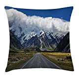 tgyew Mountain Throw Pillow Cushion Cover, Highway Road up to Mountains South Western Natural Wonder Snowy Peaks, Decorative Square Accent Pillow Case, 18 X 18 inches, Blue White Grey Green