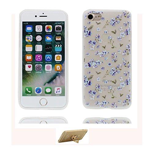 Custodia iPhone 6 Plus, ( porpora Flower ) Silicone trasparente iPhone 6S Case iPhone 6s Plus copertura Cover 5.5 e ring supporto Shell Graffi Resistenti Color - 5