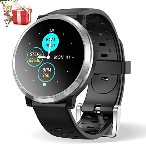 Smartwatch Donna Uomo,HopoFit HF04 Bluetooth Orologio Intelligente Impermeabile IP67,Attività Tracker con Monitor del Sonno,Contacalorie,Cardiofrequenzimetro da Polso Pedometro per Android iOS(Silver)