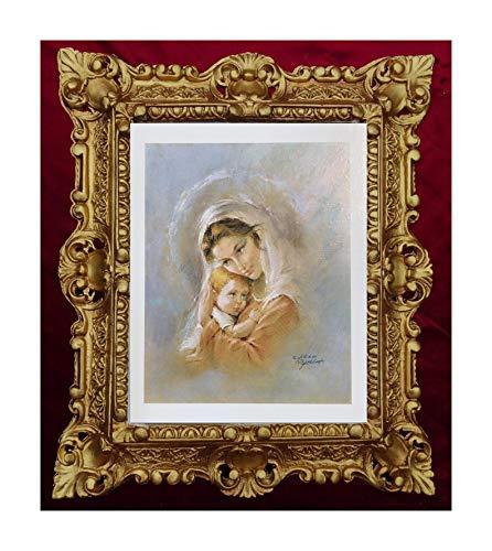 Bild Rahmen Gemälde Religiös Maria Magdelena Ikonen Antik 45x38cm Carlo Parisi - Virgin 6