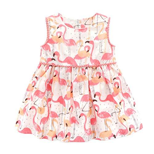 en Kleid Sleeveless Flamingo Sommer Party Prinzessin Kleid Outfits Kleidung Kleinkind Gedruckt Hochzeit Kostüm Rosa 120 cm ()