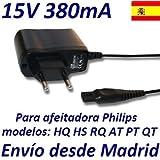 Cargador Corriente 15V Reemplazo Afeitadora Philips HS8040 HS8060 HS8420 HS8440 HS8460 Recambio Replacement