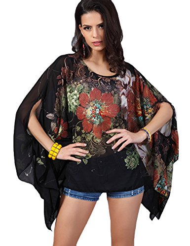 Poptem Womens Beach Blouse Cover Up Bat Sleeve Hollow Summer Swimwear Dress Boho Loose Soft Tops Kimono Swimsuit Beachwear