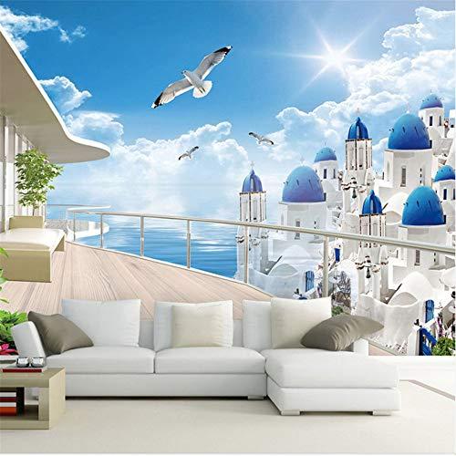 Guyuell Benutzerdefinierte 3D Wandbild Tapete Für Wand Europäischen Küstenstadt Balkon Erweitern Die Raum Stroh Wandabdeckung Für Wohnzimmer Wohnkultur-350Cmx245Cm