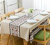 Nappe PVC Rectangulaire Antitache Imperméable Résistante à la Chaleur Durable Décoratin de Table Motif de Chemin de Table Beige 137x180cm