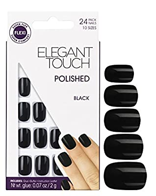 Elegant Touch Pre Polished Nails with self adhesive tabs - Jet Black - 301