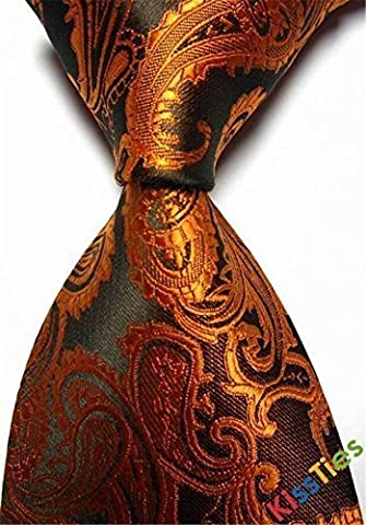 New Brown Paisley Jacquard Woven Men's Tie Necktie by F&T