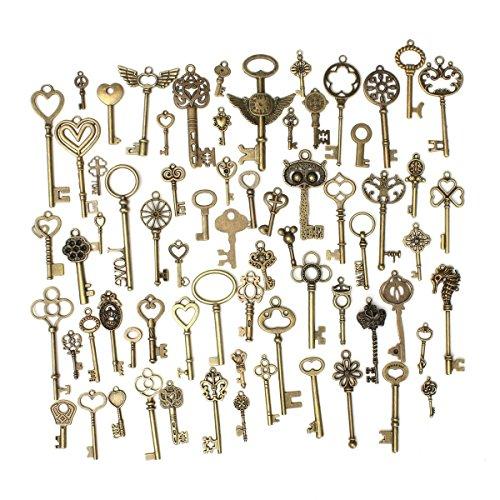 Nikgic Retro Vintage Bronze Schlüssel Anhänger für DIY Deco Sammlung Zubehör 69 Stk