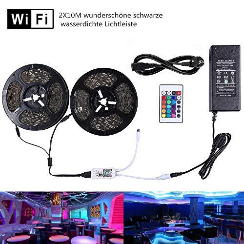 Miwatt 2X10M nicht wasserdicht, drahtlose, intelligent gesteuerte Lichtstreifen-Kit 5050 led streifen, Arbeit mit Android- und iOS-System, Alexa, Google Assistant(24V LED Streifen und Netzteil)