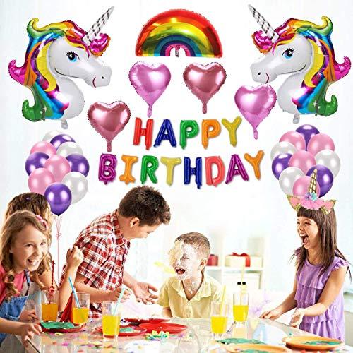 E-thinker Einhorn Luftballons Geburtstag Set , Regenbogen Einhorn Party Dekorationen, Alles Gute zum Geburtstag Ballon Banner für Birthday Party, Hochzeit