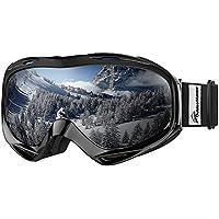 OutdoorMaster Occhiali da Sci Donna&Uomo, Occhiali da Snowboard 100% Protezione UV OTG con Telaio antiappannamento,compatibili per Casco(Cornice Nera+VLT 10% Lente Grigia con Argento REVO)