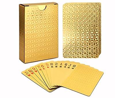 Carte à Jouer 24K Karat Feuille d'or Paqué EUR Poker Jeu de Cartes avec la Jolie Boîte, le Meilleur Cadeau