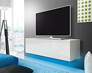 tv schrank lowboard h ngeboard simple mit led blau wei matt wei hochglanz 140 cm amazon. Black Bedroom Furniture Sets. Home Design Ideas