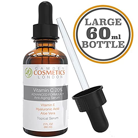 Vitamin C Serum for Face + Hyaluronic Acid + Vitamin E + Aloe Vera , 2oz (60ml) Clinical Strenth 20% Vitamin C Serum With Hyaluronic Acid: Camden Cosmetics London Is The Most Recommended Anti Ageing Serum for Increased Collagen Production and Less Fine Lines, Dark Spots & Wrinkles - 98% Natural Age Defying Serum with Organic Clinical Strength 20% Vitamin C + Moisturiser - Vitamin C Serum Vegan - Vitamin C Serum for Acne and Scars - for Men and Women - 100% Satisfaction