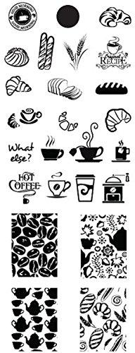 XL-STAMPING-SCHABLONE 13x5cm # CHD-NOURRITURE-003 Kaffee, Frühstück,Kipferl, Croissant, Coffee, Cappuchino, Kaffeemühle, Kaffeebohnen