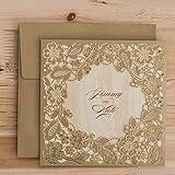 Ponatia, lasergeschnittene Hochzeitseinladungs-Karten, 25-teiliges Set, mit geprägtem, hohlen Blumenmuster gold