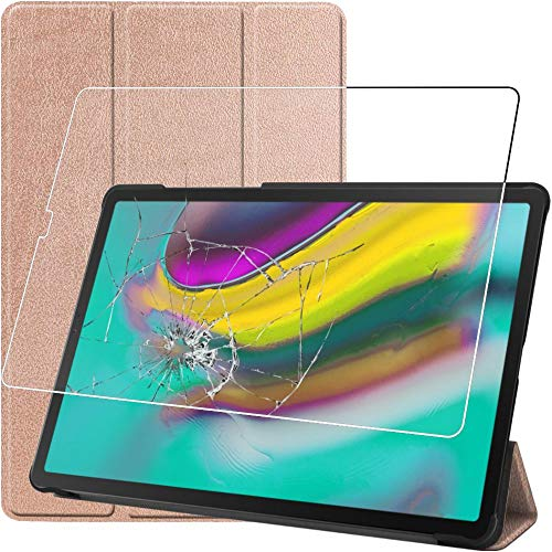 ebestStar - kompatibel Samsung Galaxy Tab S5e 10.5 Hülle T720/T725 Smart Cover [Ultra Dünn] Schutzhülle Etui, Schutz Hülle Ständer Case, Gold + Panzerglas Schutzfolie [Tab: 245 x 160 x 5.5mm, 10.5'']